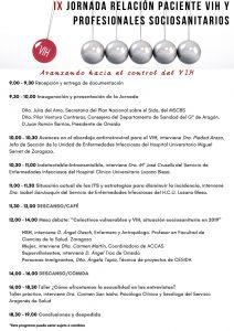 Programa IX Jornada Relación Paciente VIH y Profesional Socio Sanitario 2019