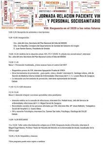 Programa X Jornada Relación Paciente VIH y Personal Sociosanitario