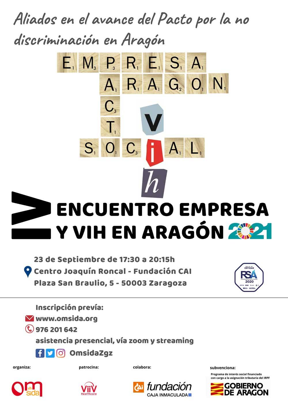 Cartel IV Encuentro Empresa y VIH en Aragón